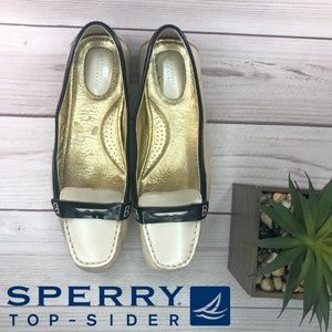 Sperry Topsider Cream Gold  Nude Black Size 8.5